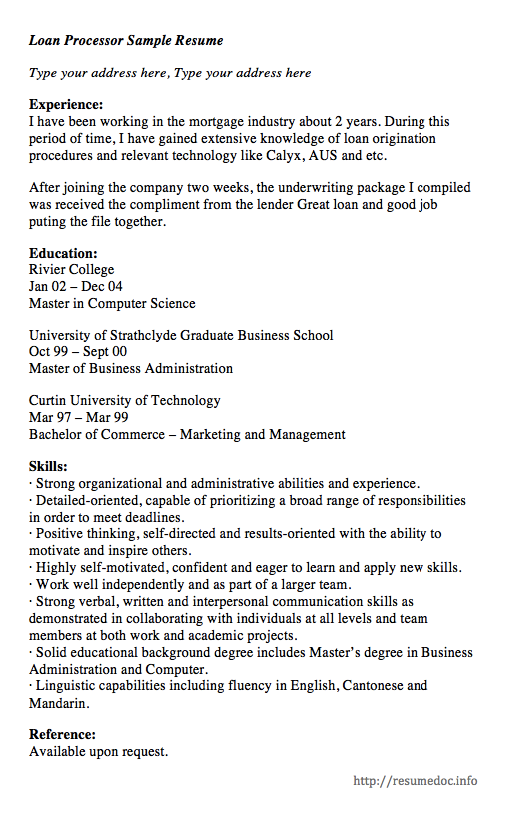 Here is the free Loan Processor Sample Resume you can preview it here or can download it for
