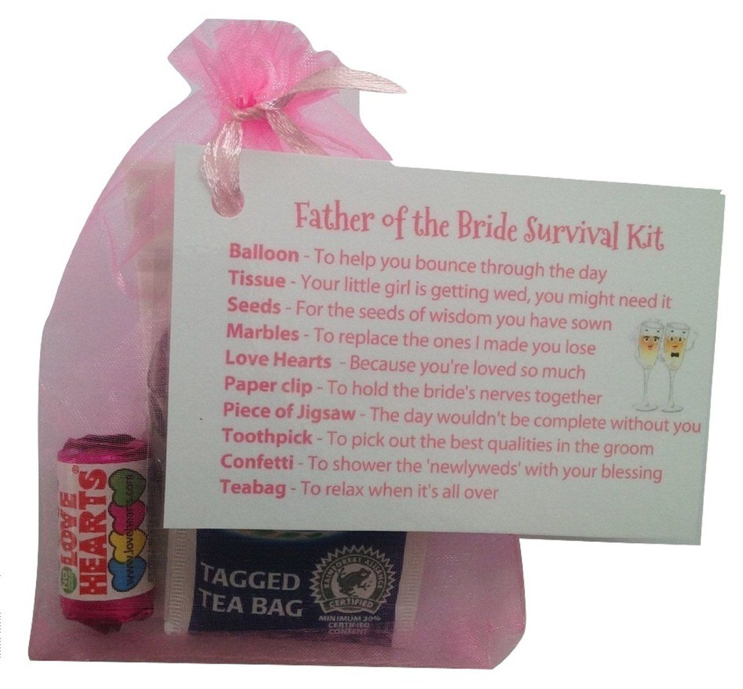 Father of the bride survival kit in pinkthank you gift