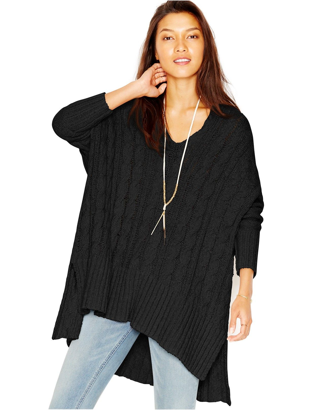 Free People Oversized Cable-Knit Sweater - Sweaters - Women ...