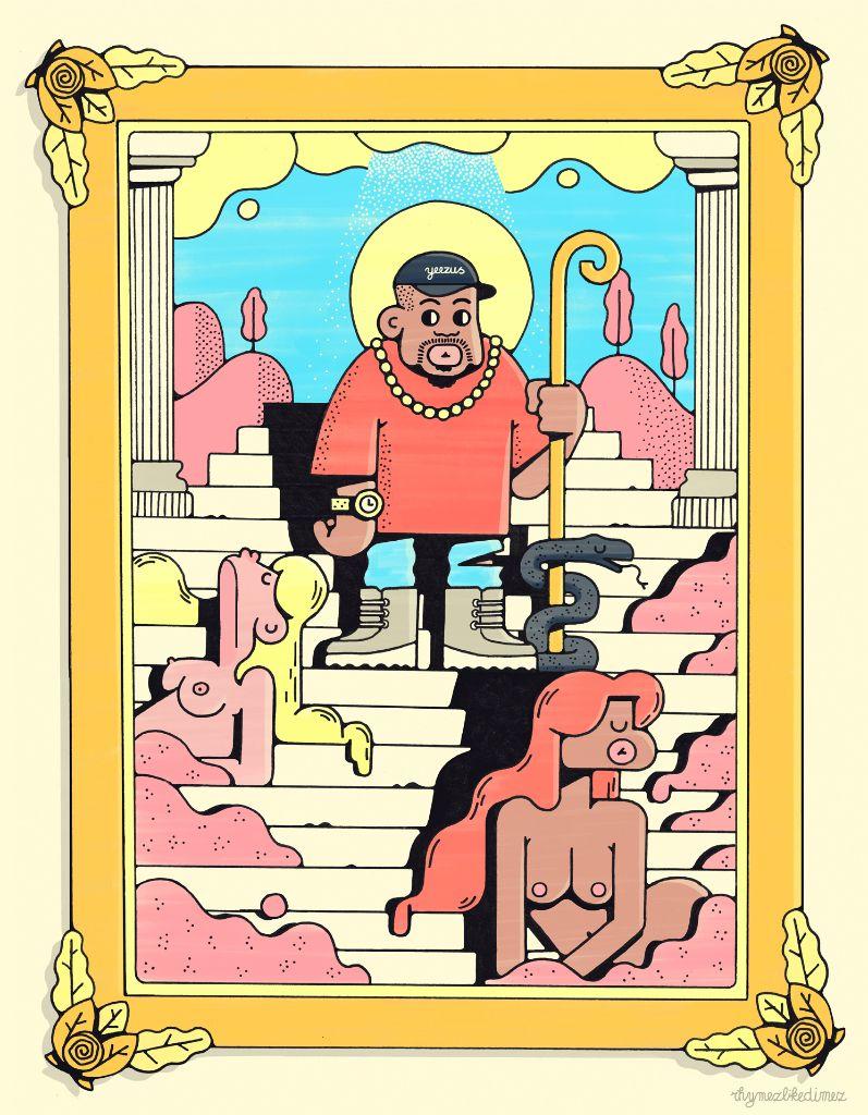 Rhymezlikedimez Creates Kanye West The Life Of Pablo Art Ilustrator Desain Karakter Seni