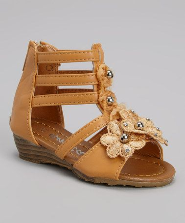 b88d014819af Love this Tan Floral Gladiator Sandal by Ameta Corporation on ...