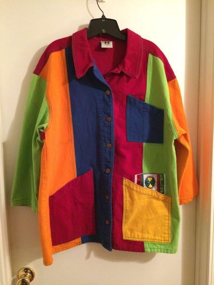 Vintage Cross Colours Colors Color Blocked Jacket Coat 3 Color Block Jacket Jackets Color Block