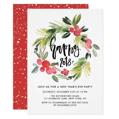 Watercolor Holly Wreath  New YearS Eve Party Card   New
