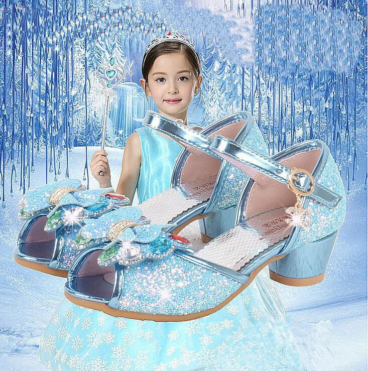 >> Click to Buy << 2017 Summer girl Princess elsa shoes girls high heels Sandals single shoes party performing bling&Rhinestone shoes 26-37 TX01 #Affiliate