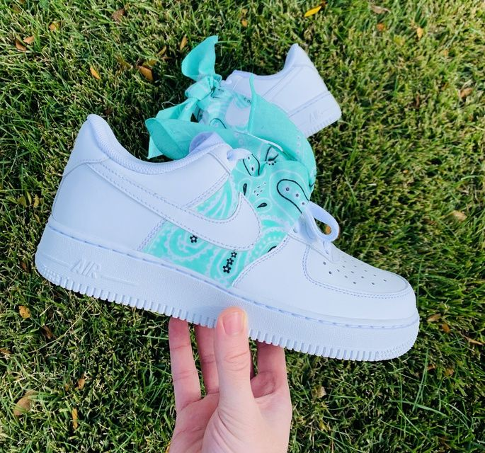 Teal Bandana Air Force 1 in 2020 White nike shoes, Nike