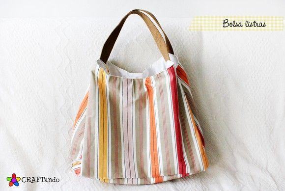 Bolsa linda, grande e versátil. Da para levar tudo aqui dentro e estas listras em cores neutras e alegres animam qualquer visual. R$50,00