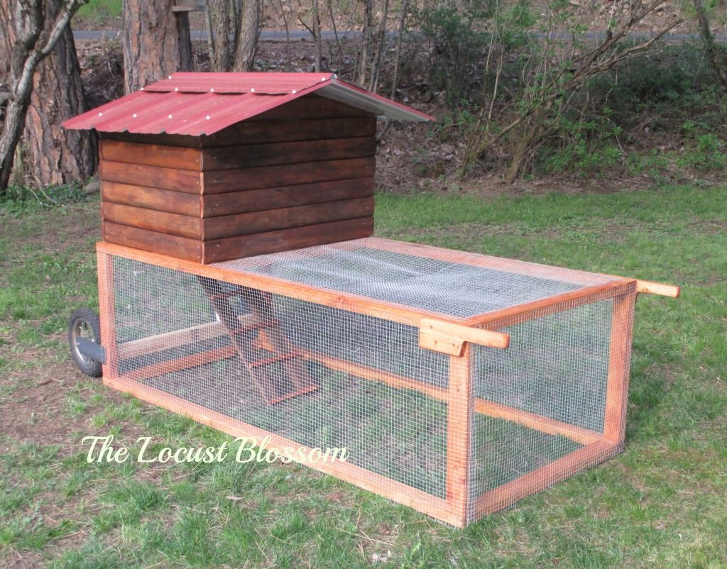 The $42 Chicken Tractor -- Here is our latest building project. It is a chicken tractor made primarily from items we had &/or that were free. We are only keeping 4 chickens now (rather than a dozen like we used to) so this 6.5′ X 3′ coop with a cabin nest box should be just right for when they need to be...