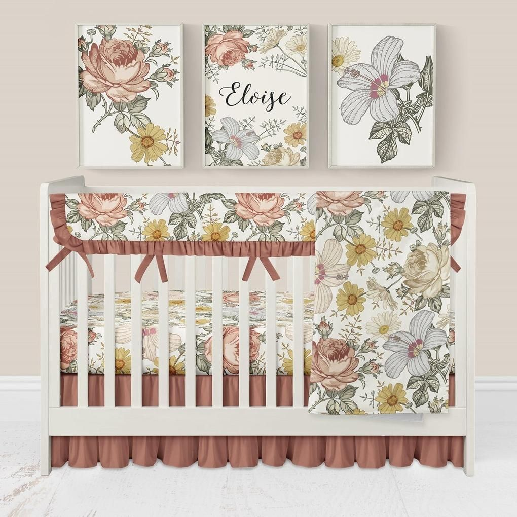 Vintage Earthy Floral Ruffled Crib Bedding 4 Pcs Rail Guards Sheet Skirt Minky Blanket Floral Changing Pad Cover Crib Bedding Girl Floral Crib Bedding