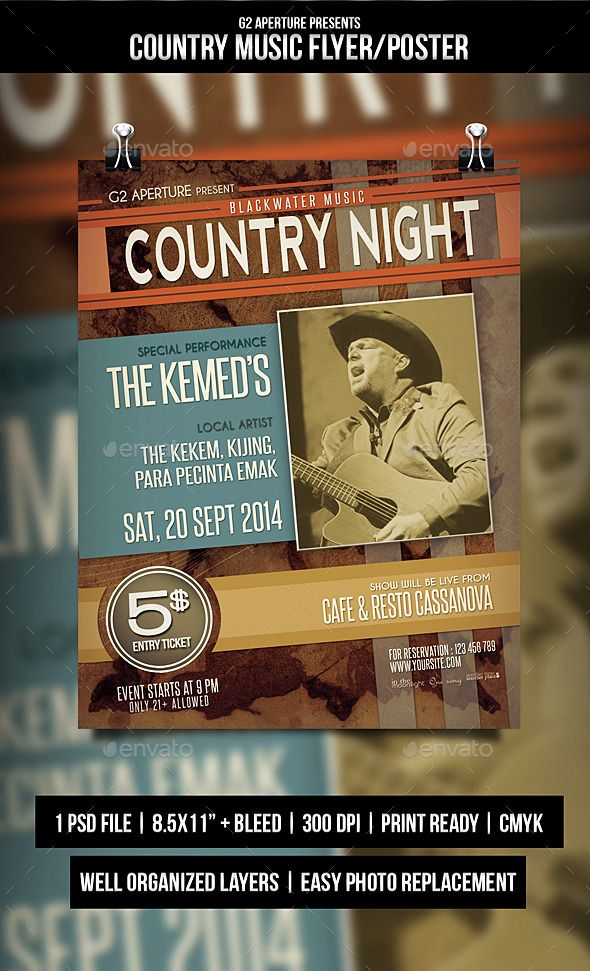 Country Music Flyer  Poster  Music Flyer Country Music And