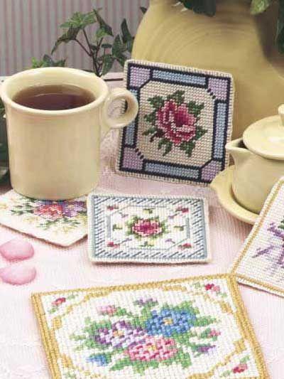 Plastic Canvas Pattern Vintage Victorian Coasters