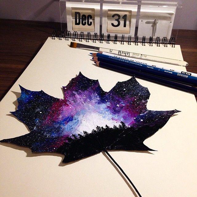 Este artista de 16 anos de idade, usa as folhas caídas para criar pinturas impressionantes.