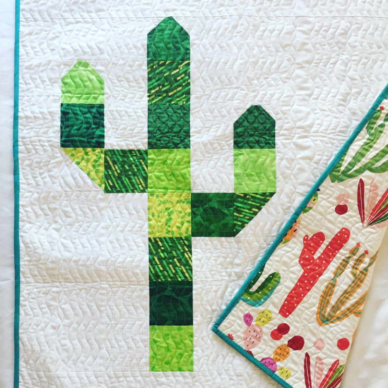 Saguaro Cactus Quilt With Painted Desert Cactus Back Quilts