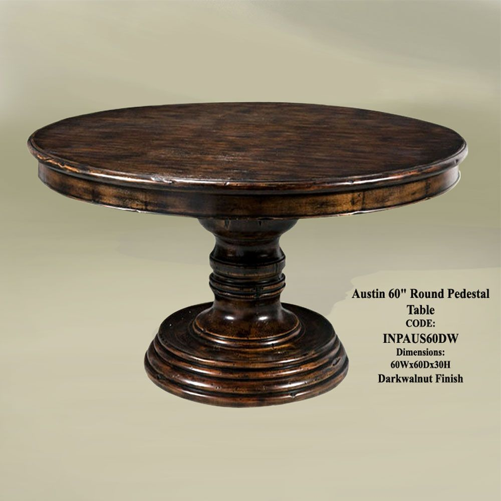 Austin 60 round pedestal table dark wal kitchen tables for Dining room table 90 inch