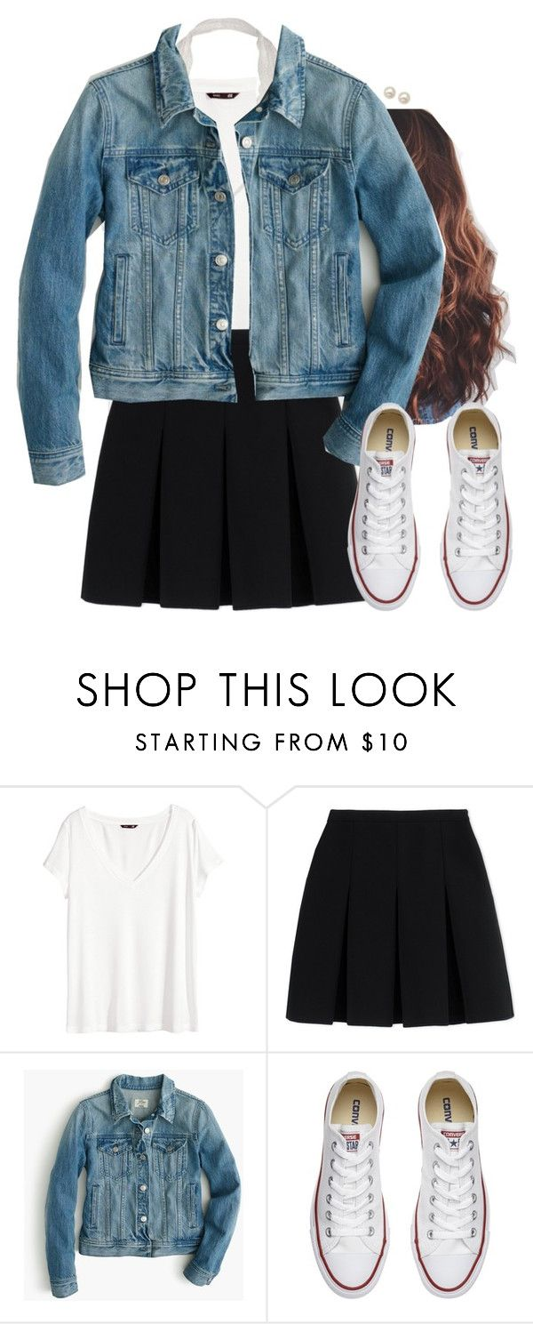 """""""Black skirt simple outfit"""" by aweaver-2 on Polyvore featuring H&M, Alexander Wang, J.Crew, Converse and Honora"""
