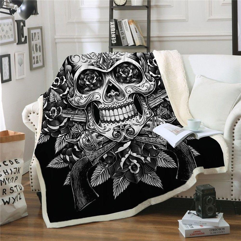 Blanket skull gothic bedding velvet plush reversible
