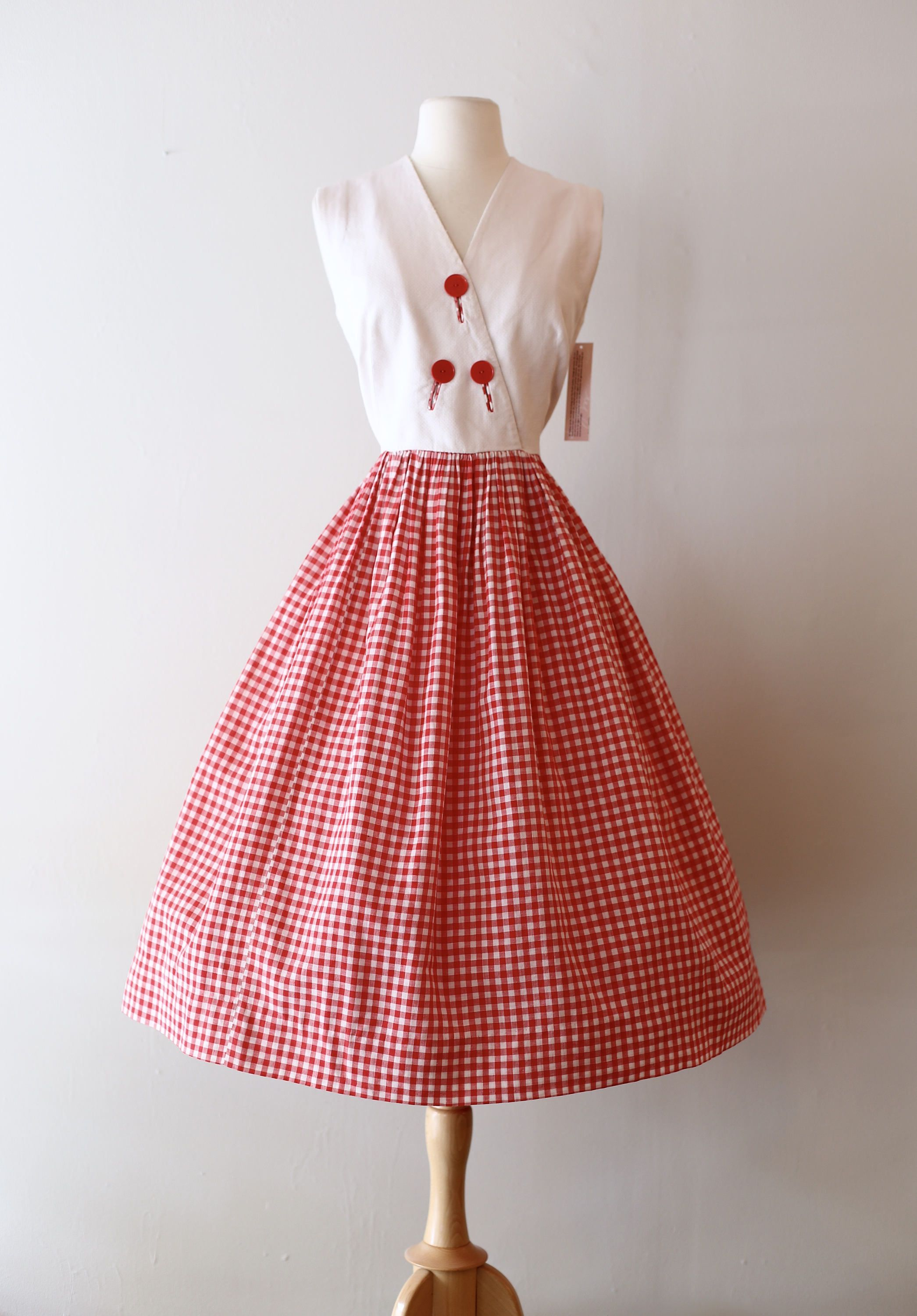 Vintage 1950\'s Red and White Cotton Gingham Day Dress ~ Vintage 50s ...