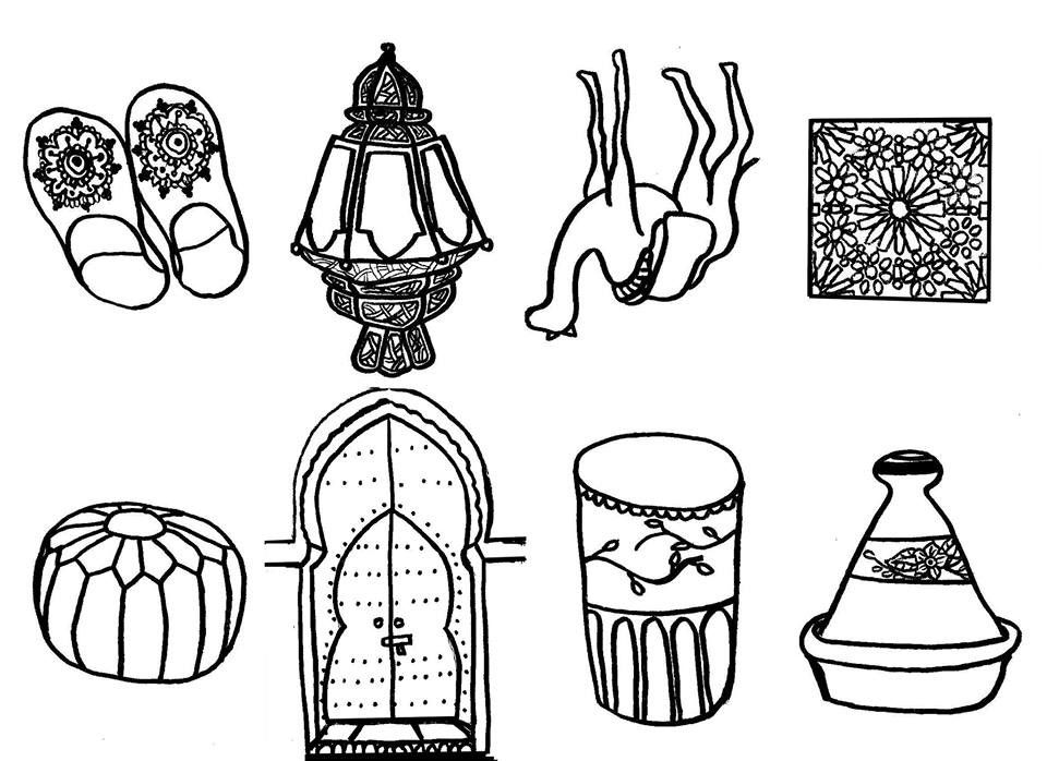 morocco coloring pages | coloriage ambiance marocaine pour enfants | Morocco for ...