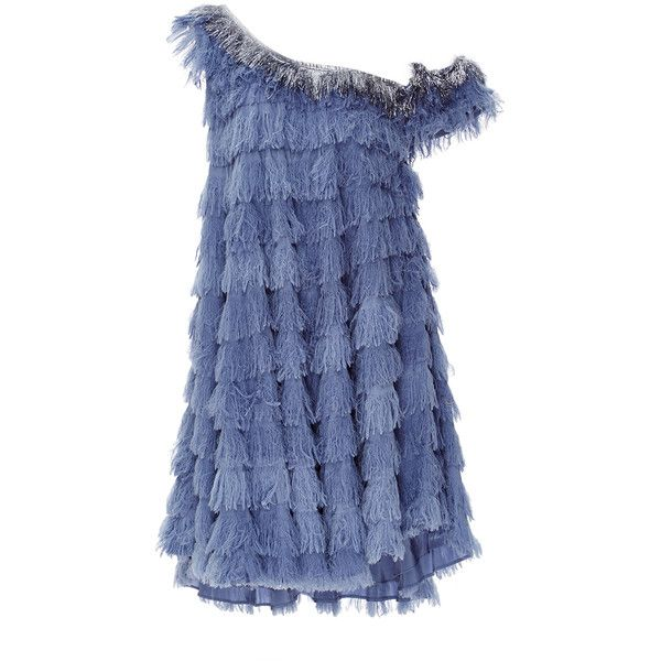 Cynthia Rowley Fringe Swing Dress ($995) ❤ liked on Polyvore featuring dresses, cotton a line dress, tiered dress, cynthia rowley, swing dress and a line dress