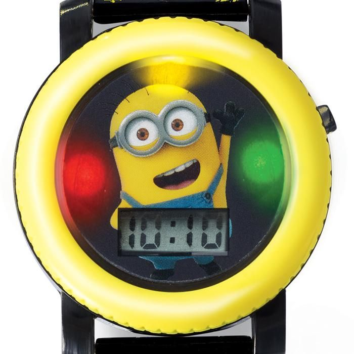 """Have your minions close at hand! Watch lights up and makes Minion-like sounds at the push of a button. Digital display. Adjustable strap, 8"""" L. Ages 6 and up. Plastic, silicone. Imported.Minions is a trademark and copyright of Universal Studios. Liscensed by Universal Studios Liscensing LLC. All rights reserved."""