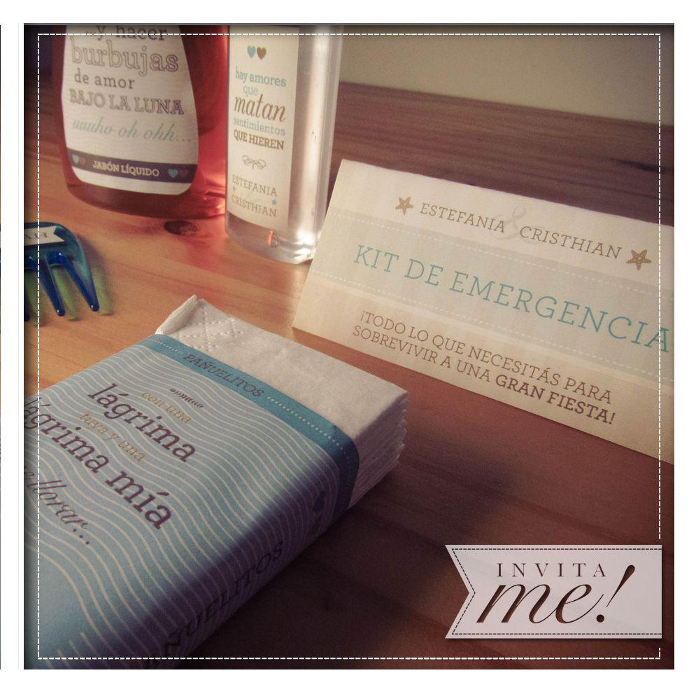 Kit de emergencia (pañuelitos, aspirinas, chicles y todo lo que necesitas para la resaca de la fiesta) Consulta promo con productos o blister para armarlo vos mismo.  hola@invita-me.com.ar