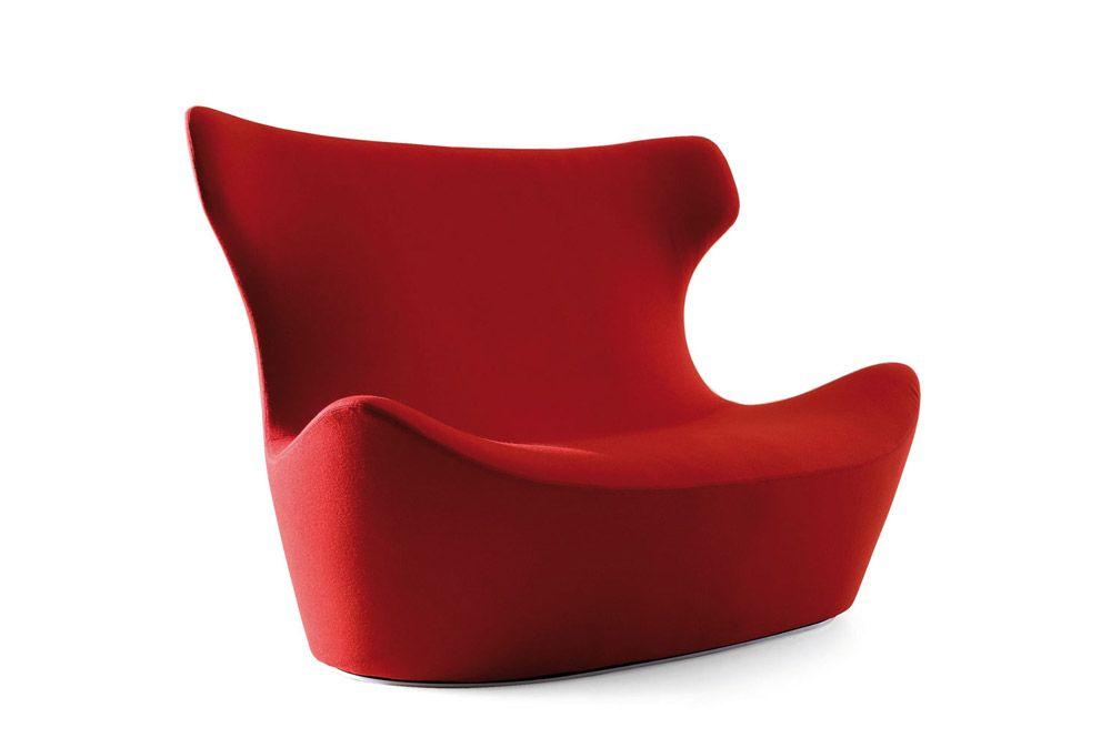 red 2-seat sofa Divano Love Papilio