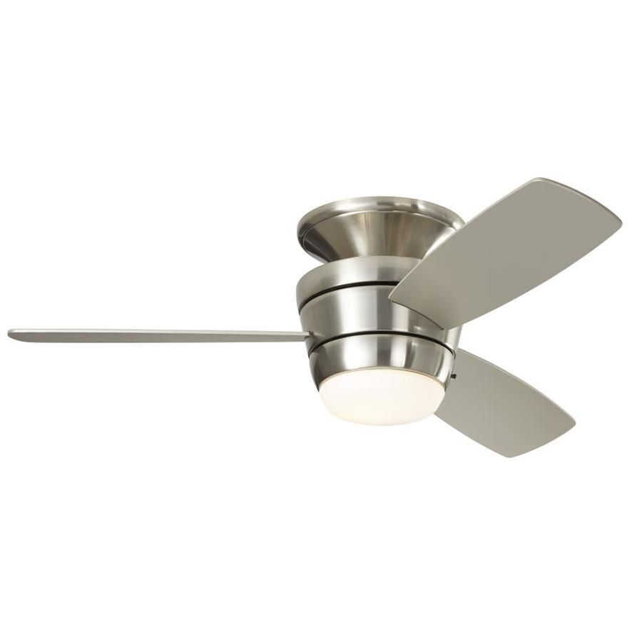 Harbor Breeze Mazon Brush Nickel Integrated LED Indoor Flush Mount Ceiling  Fan With Light Kit And Remote For The Office