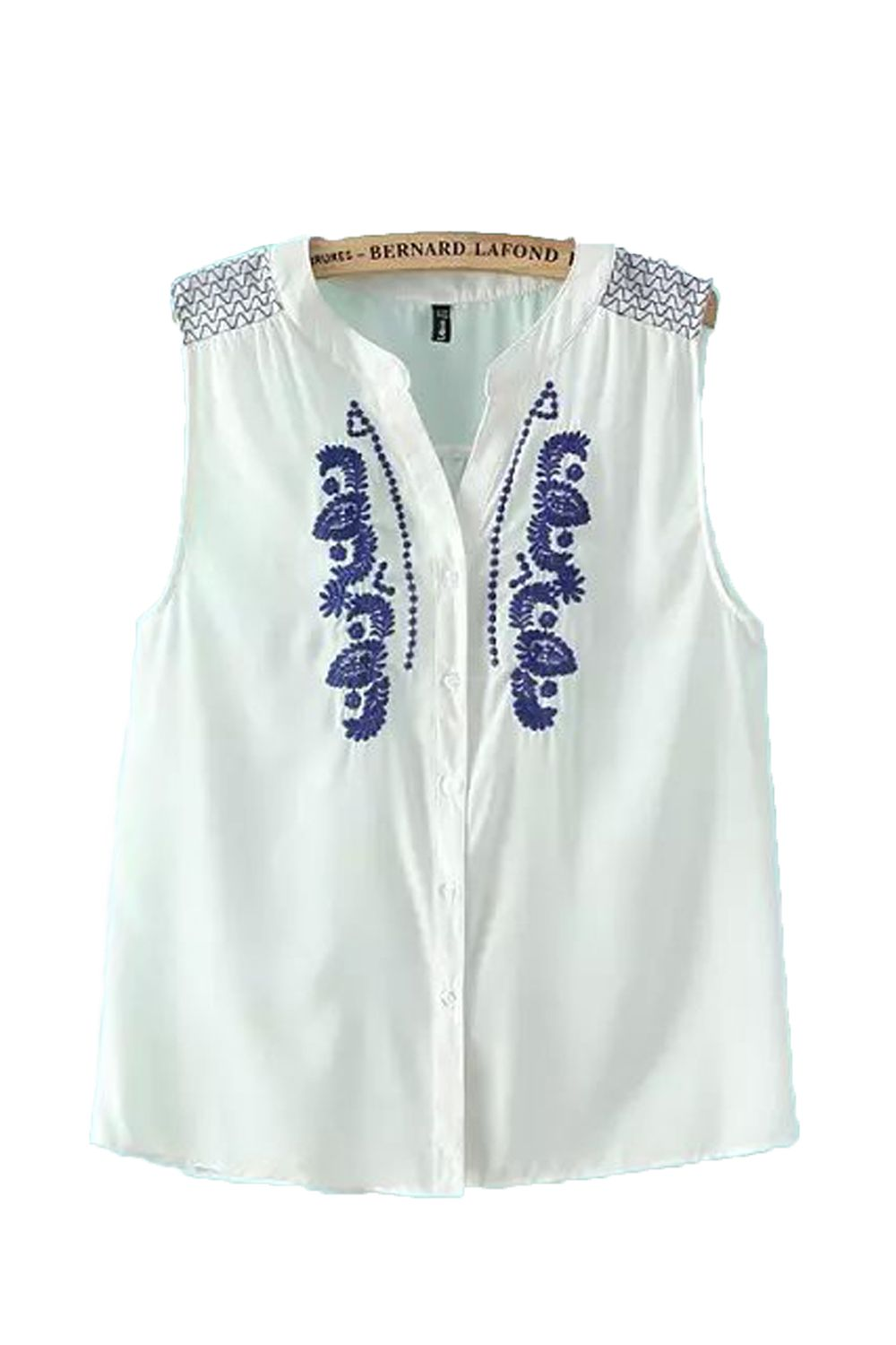 a40834bc Sweet Blue and White Vintage Style Button Down Embroidery Sleeveless Summer  Shirt #Blue_and_White #Vintage #Style #Embroidery #Summer #Shirt #Fashion