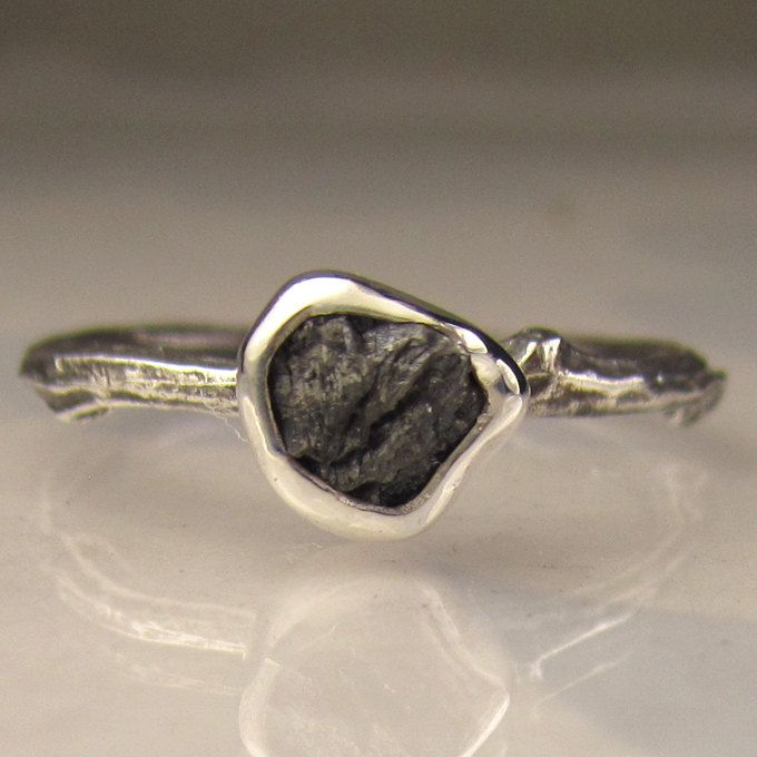 rough black diamond twig ring in sterling silver
