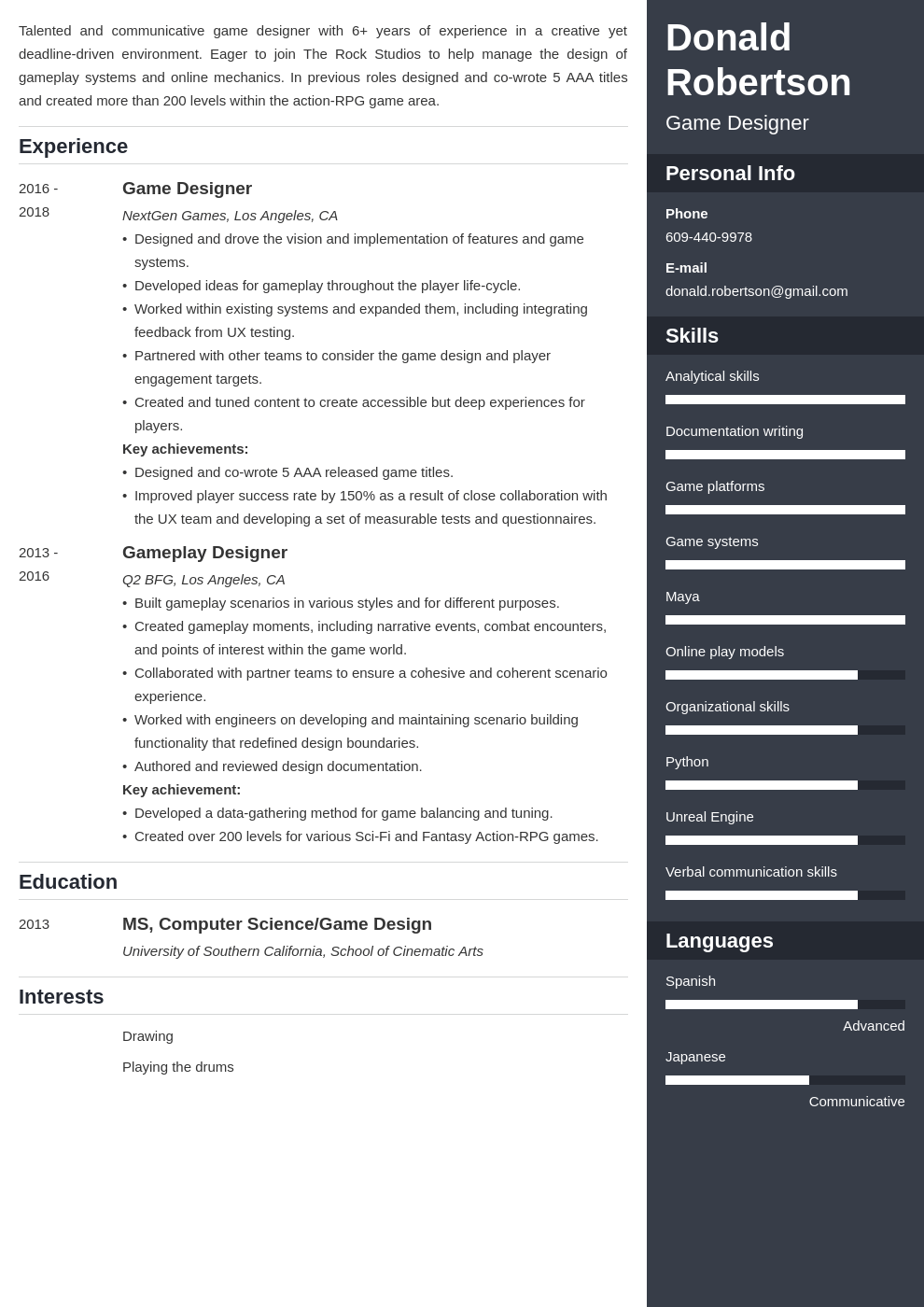 game design resume template enfold in 2020 Resume