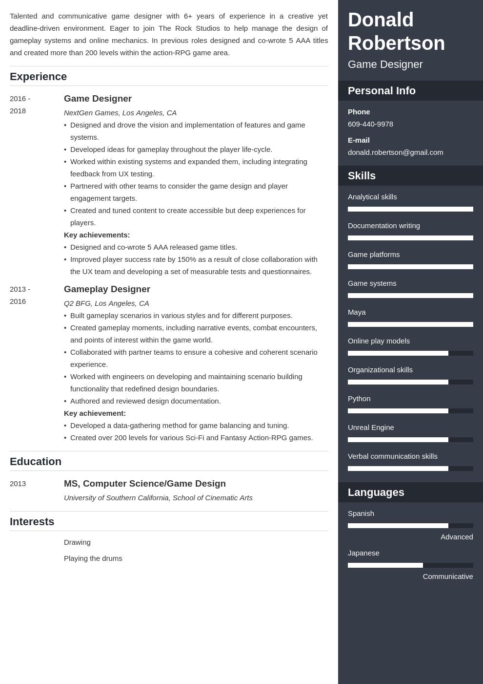 Game Design Resume Template Enfold In 2020 Teacher Resume Examples Resume Examples Resume Design