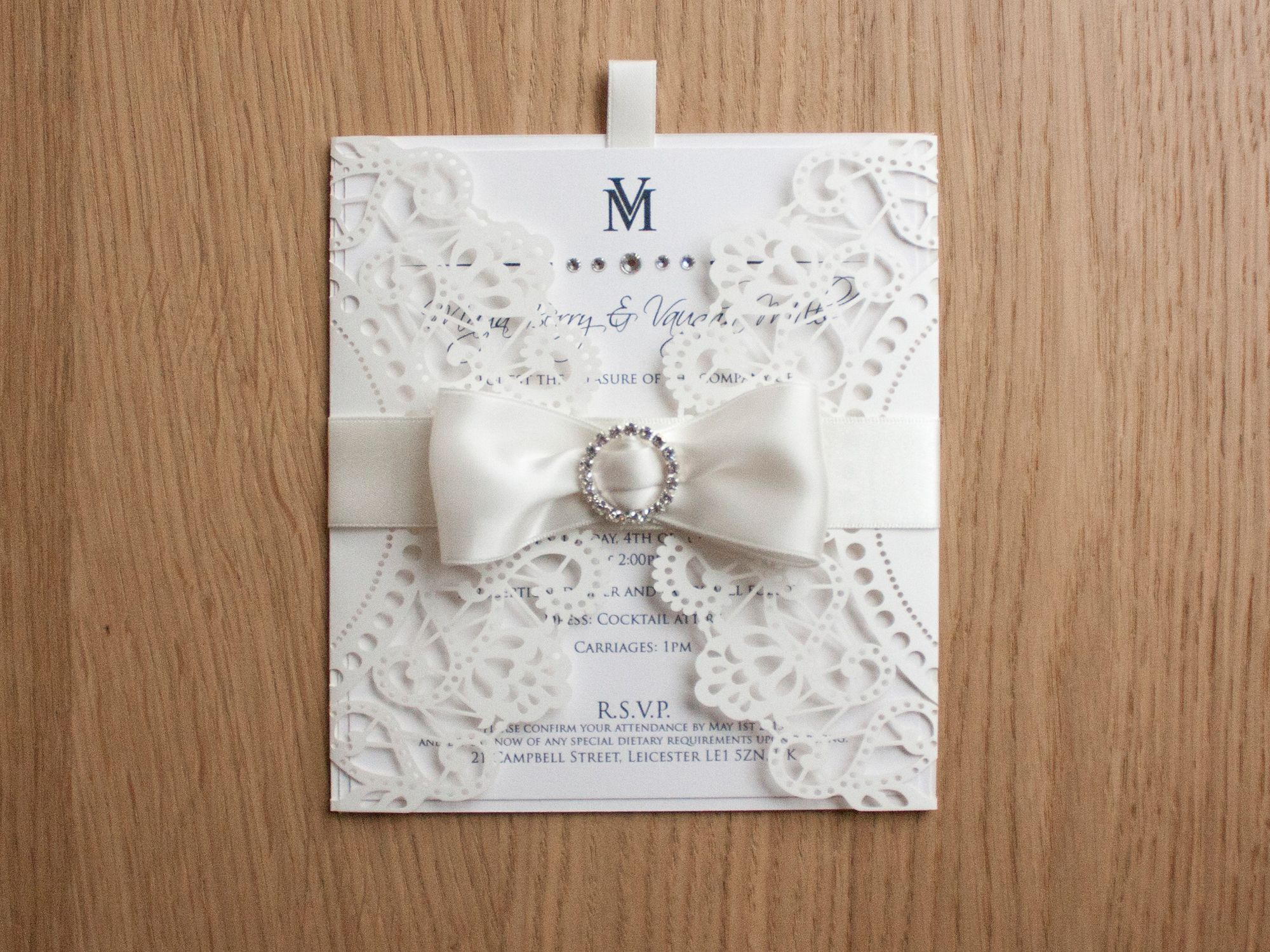 Laser cut lace vintage cream crystal and ribbon luxury invitation ...