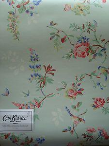 Cath Kidston 3 Metres Birds Roses Green Wallpaper Ebay