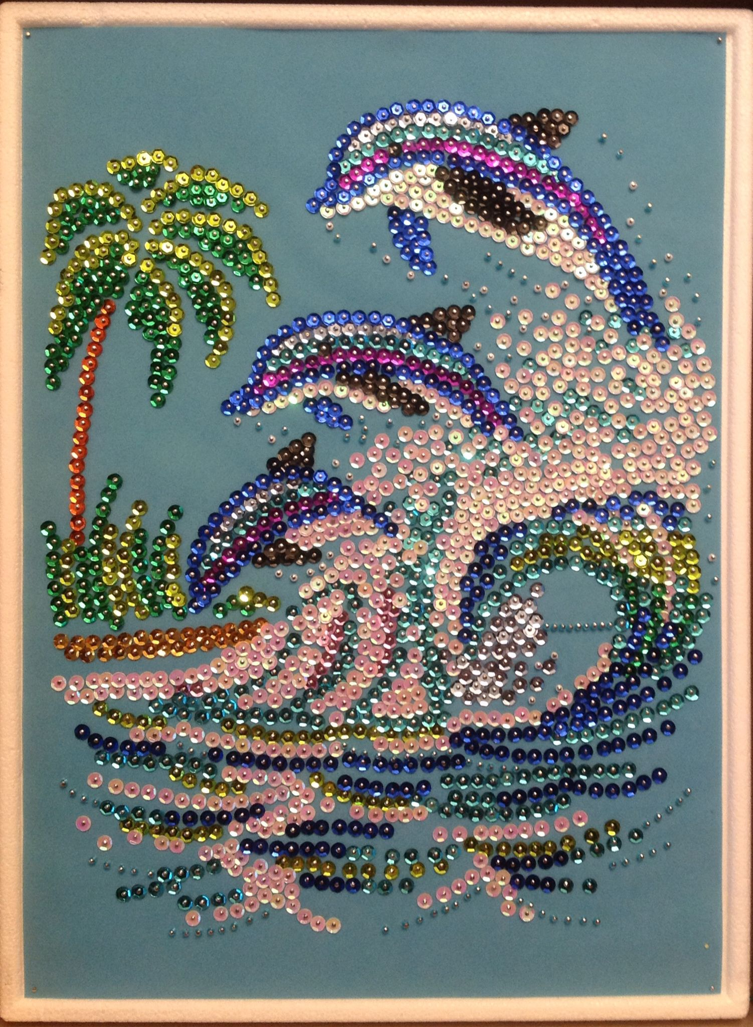 Sequin Art dolphins with beads | sequines | Pinterest | Sequins ...