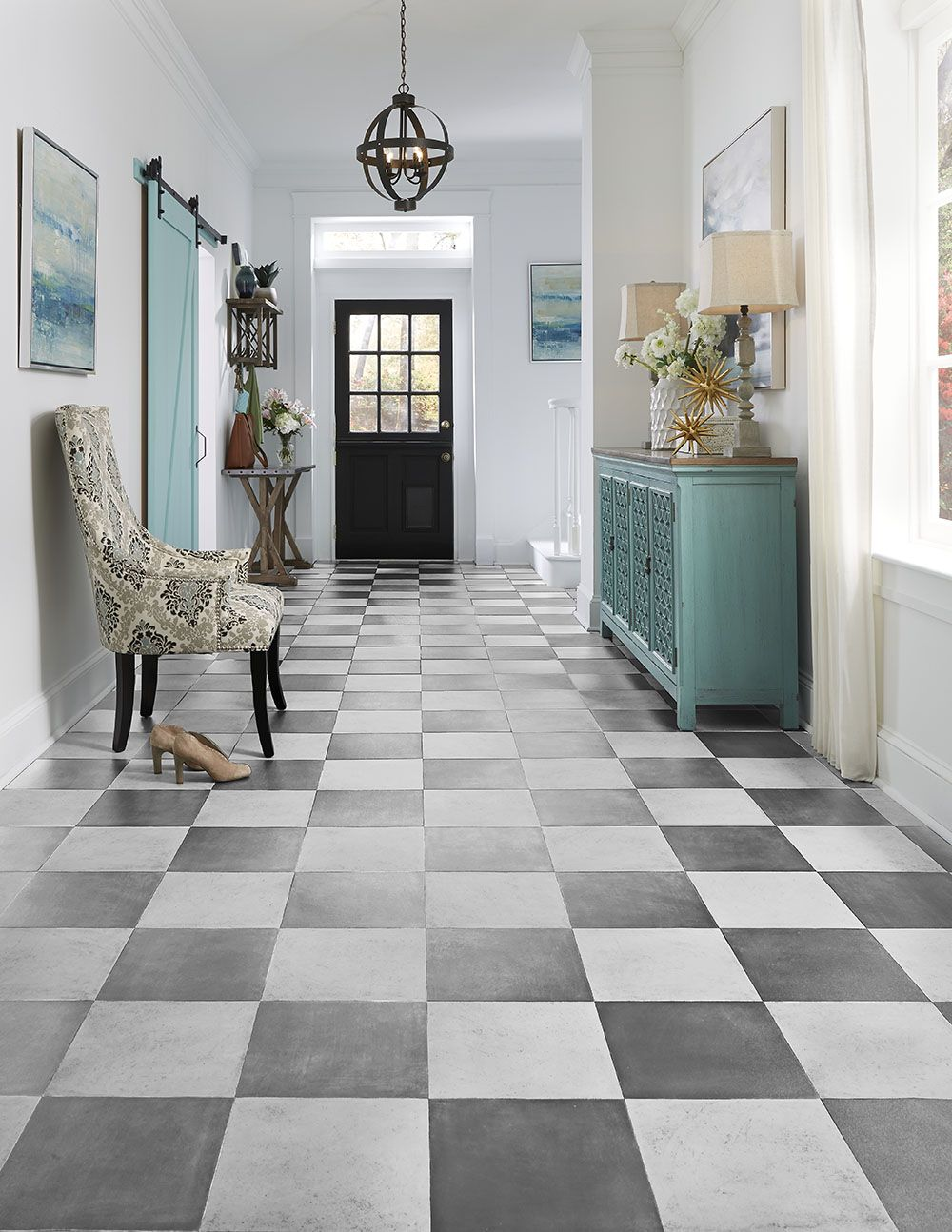 Inspired By The Well Traveled Pathways Of The Iconic French Palace For Which It S Named Ver Floor Tile Patterns Layout Patterned Floor Tiles Luxury Vinyl Tile