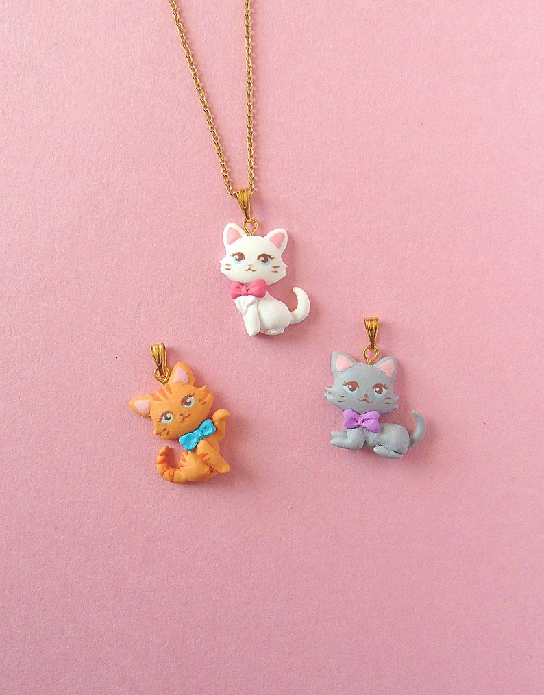 Cute Polymer Clay Cats - Polymer Clay Jewelry - Kawaii Cat Pendant - Cat Necklace - Childrens Jewelry