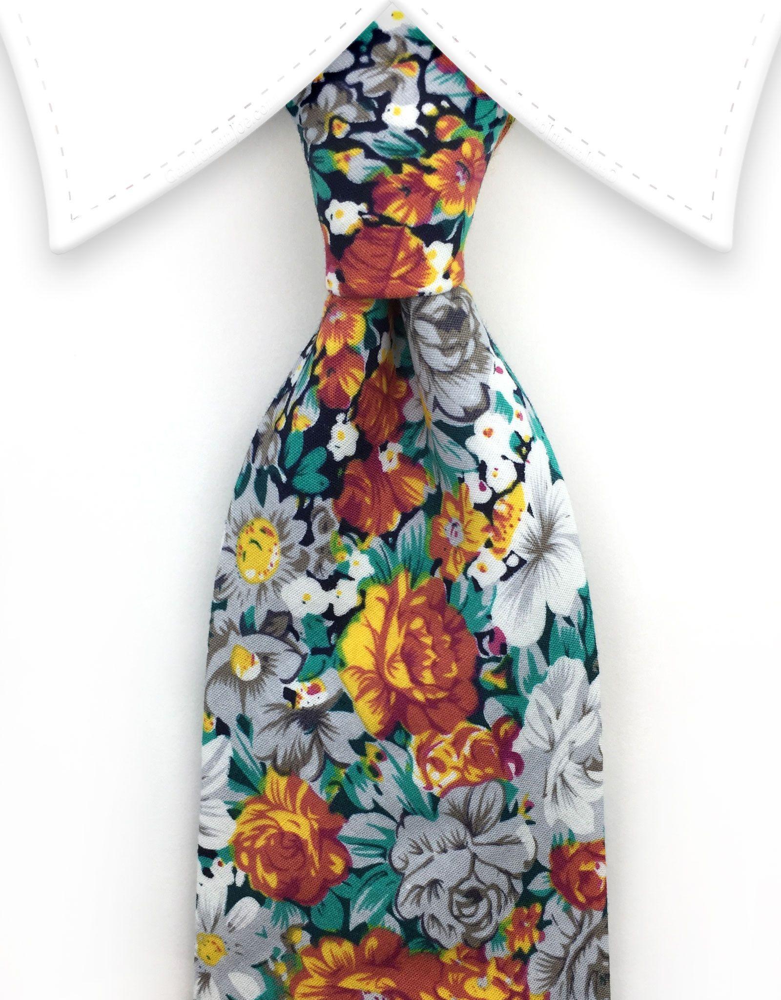 Orange, Green & White Floral Tie Floral tie, Floral