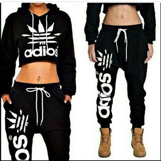 af67a80f310 sweater cropped hoodie hoodie black crop top adidas wings style fashion  swag sweatpants
