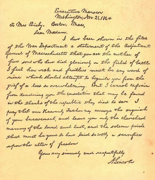 Letter written by President Abraham Lincoln to Mrs Bixby , Mother