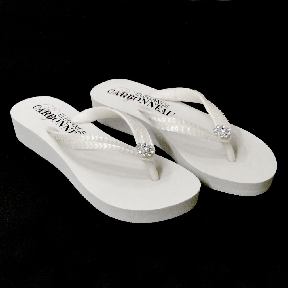 faa3dfadea0f Low Heel White Wedge Flip Flops with Sequins   Swarovski Crystals ...