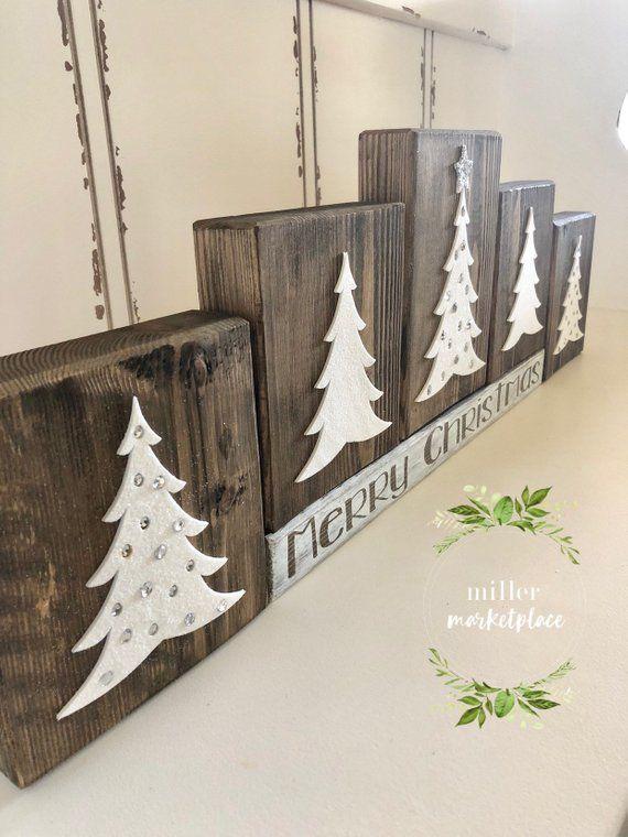Christmas Wood Block Set | Primitive Holiday | Woodland Xmas Decor | Elegant Xmas | Xmas Blocks | Rustic Xmas Decor | Holiday Wood Block Set #setinstains
