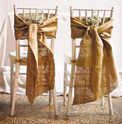 Burlap Wedding Chair Sash Chair Swag Set Of By AJRUSTICCREATIONS
