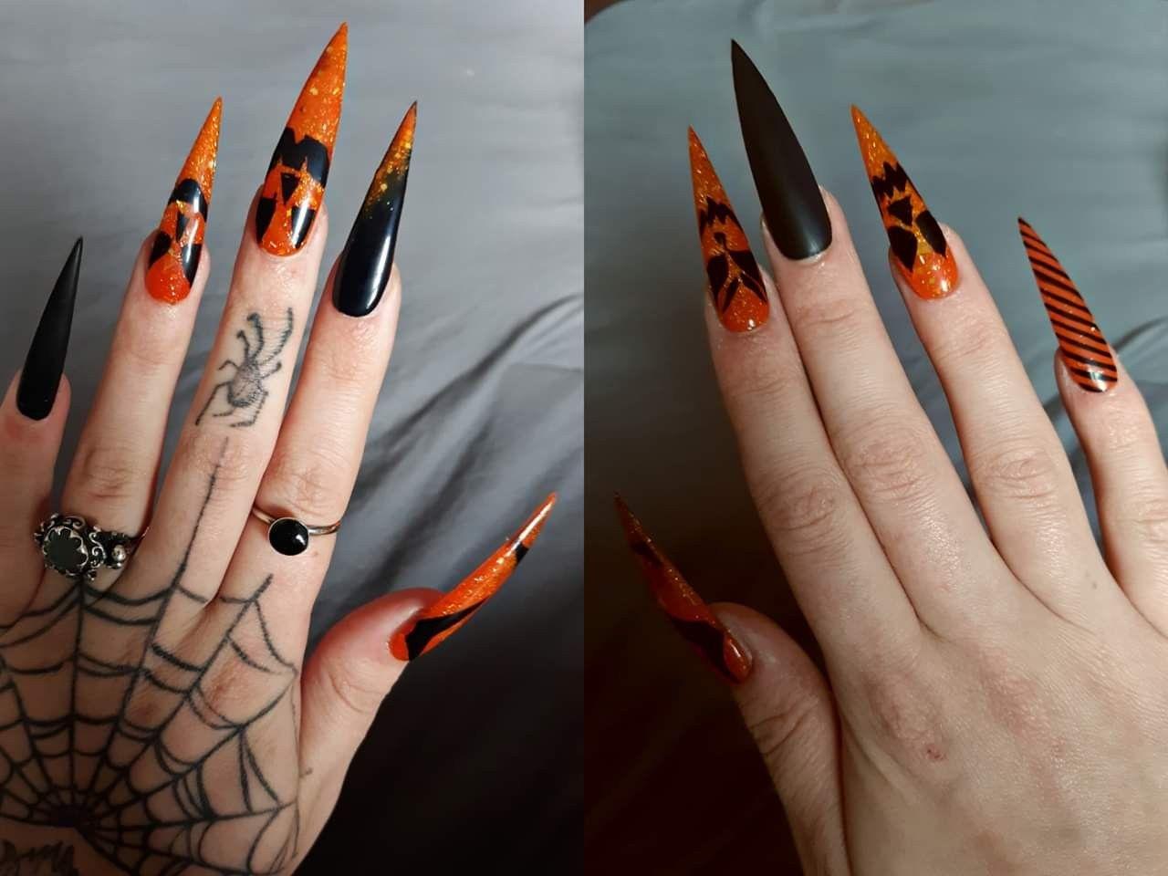 Halloween stilettos acrylic nails orange black Jack o ...