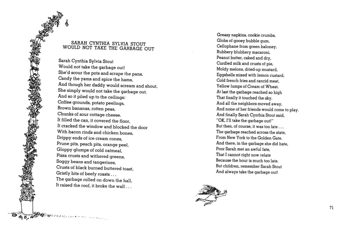 Shel Silverstein - Sarah Cynthia Sylvia Stout Would Not Take The Garbage Out (1167×790)