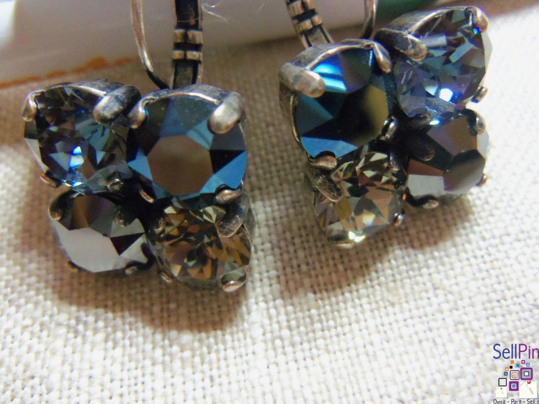 $19.00: Swarovski Jet Hematite, Metallic Blue, Black Diamond & Indian Sapphire 8MM 4 Crystal  Leverback Earrings in a Antiqu