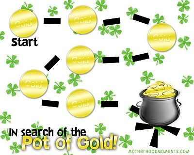 """Links to """"Pot of Gold Game"""" and printable. Could also just be used as a tracing sheet."""