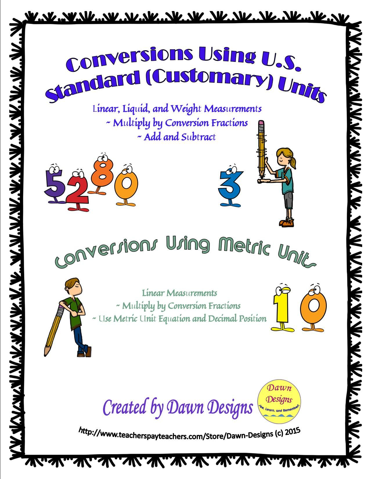 Measurement Conversions Using U S Standard Customary