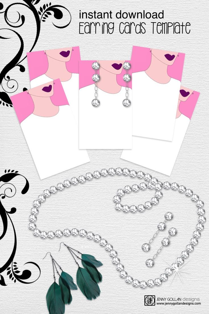 Earring Cards Printable Template Jewelry Pinterest
