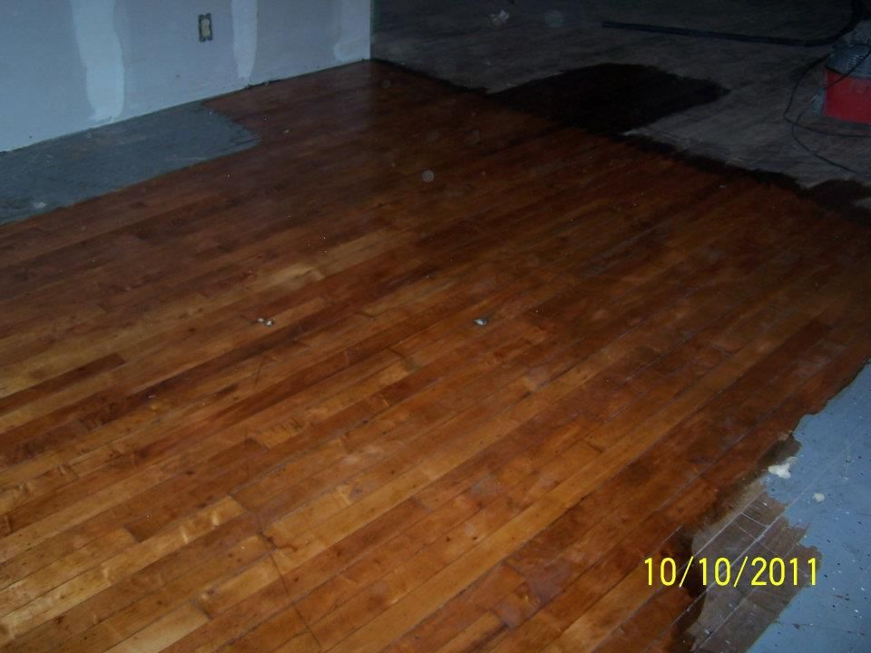 Refinishing painted hardwood floors from an old auto parts