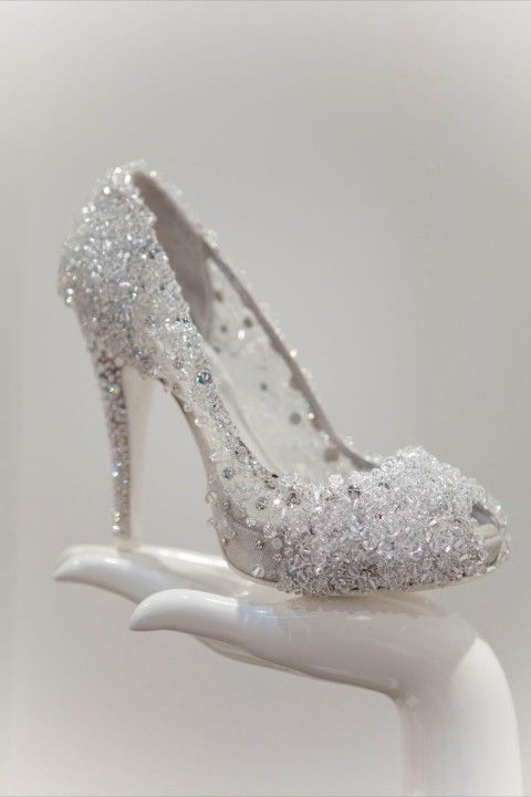 All The Beading Makes It Look Like Cinderella S Slipper Sparkly Wedding Shoes Me Too Shoes Cinderella Shoes