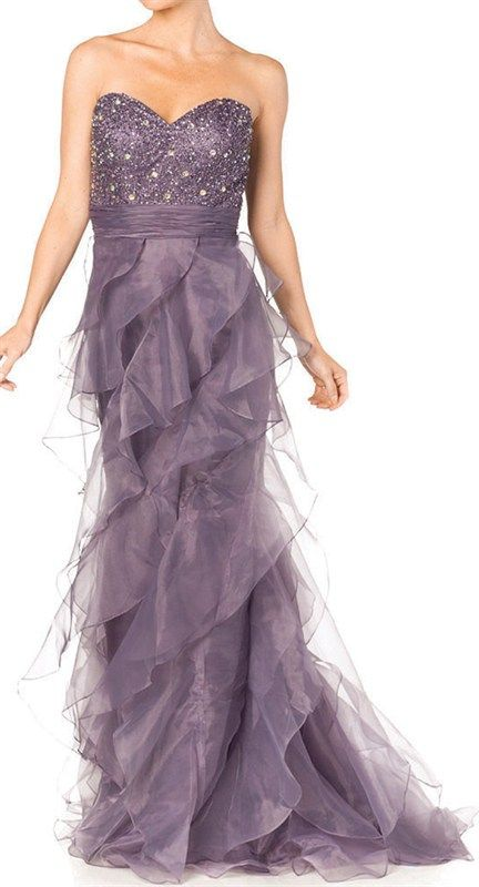 $179.99  Beautiful Flowing Ruffle Strapless Evening Gown